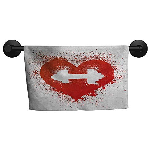 - alisoso Fitness,Face Towels Red Heart Icon with Stains Splashes Dumbbell Grunge Artistic Love Valentines Fade-Resistant W 10