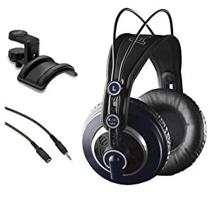AKG K 240 MK II Professional Semi-Open Stereo Headphones with Auray Headphone Holder and Mini Male to Stereo Mini Female Extension Cable