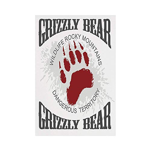 Rocky Mountain Cabin Decor - Polyester Garden Flag Outdoor Flag House Flag Banner,Cabin Decor,Grunge Grizzly Bear Footprint Emblem Dangerous Wildlife Rocky Mountains Decorative,Grey Red White,for Wedding Anniversary Home Outdoor