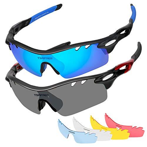 - Polarized Sunglasses 2 Pack Sports Sunglasses for Men Women Interchangeable Lens (Black Blue/Black Red Gray)