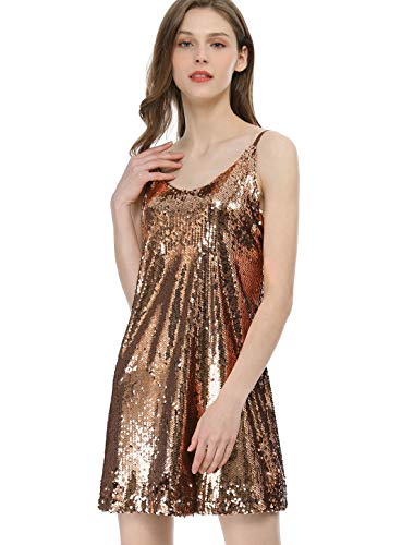 Allegra K Women's Glitter Sparkle Adjustable Strap Mini Party Sequin Dress Gold L (US ()