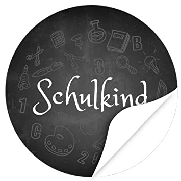 rund 4cm Motiv Bunte Symbole Tafel Einladung Schule//Schulkind//Eingeschult//Junge//M/ädchen 24 x Aufkleber zur Einschulung