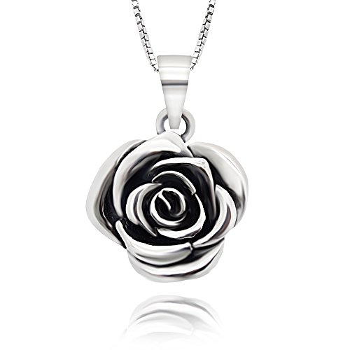 - 925 Sterling Silver Vintage Rose Flower Pendant Necklace, 18
