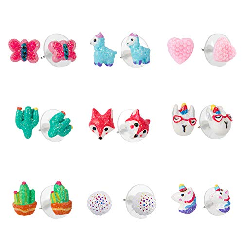 (SkyWiseWin little Girls Pierced Earrings Hypoallergenic - Colorful Cute Unicorn Earrings for Kids (Cute earrings 2))