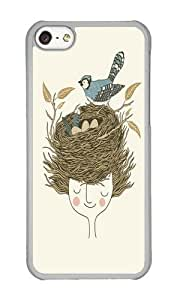 Apple Iphone 5C Case,WENJORS Adorable Bird Hair Day Hard Case Protective Shell Cell Phone Cover For Apple Iphone 5C - PC Transparent