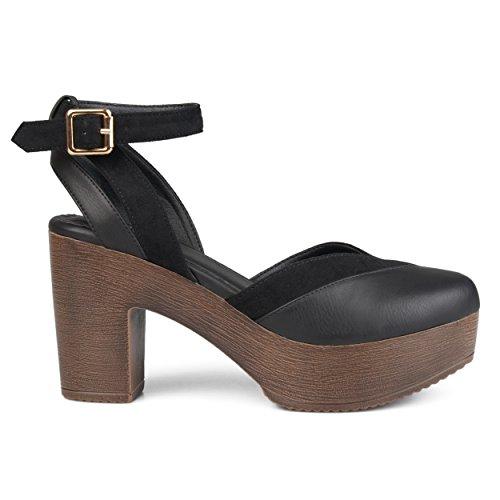 Brinley Co. Womens Rheya Faux Leather Faux Suede Ankle Wrap Platform Heels Black, 11 Regular US