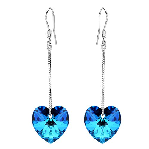 Bermuda Blue Crystal - EleQueen 925 Sterling Silver Love Heart Long Chain French Hook Dangle Earrings Bermuda Blue Made with Swarovski Crystals