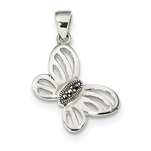 925 Sterling Silver Marcasite Center Butterfly Pendant Charm Necklace Animal Fine Jewelry For Women Gift Set for $<!--$39.99-->