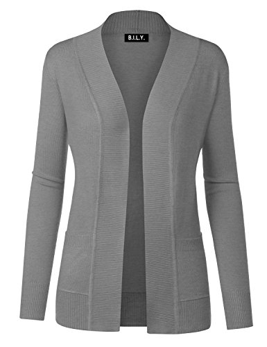 BH B.I.L.Y USA Women's Open Front Long Sleeve Classic Knit Cardigan Heather Grey 2 Large ()
