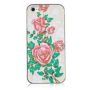SHOUJIKE Monthly Rose Pattern Black Frame Back Case for iPhone 5/5S