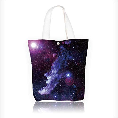 Women's Canvas Tote Handbags Space Nebula Casual Top Handle Bag Crossbody Shoulder Bag Purse W11xH11xD3 INCH