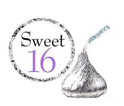 Cakesupplyshop Item#776y - 216 Sweet 16 Lavender Party Favor Hershey's Kisses Stickers / Labels (Sweet 16 Items)