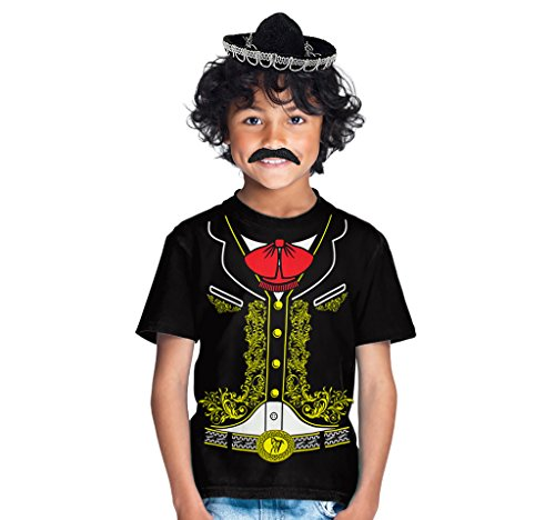 Mariachi Boy Costume (Viva Mexico Kids Mariachi Costume Shirt Sombrero Hat & Mustache Bundle T-Shirt Medium)