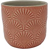 "Amazon Brand – Stone & Beam Small Fan-Embossed Planter, 4.3""H, Arabesque Coral Pink"