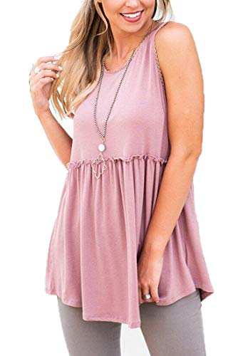 Ruffle Cami Lace - OURS Women's Casual Zip Up Back Lace Hem Sleeveless Tank Shirts Blouse Tops (Pink, M)
