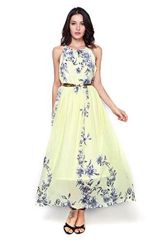 Starw Women Sleeveless Halter Neck Vintage Chiffon Floral Print Maxi Dress AP003 XL Yellow