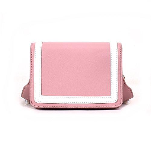 CJshop Nuevas bolsas pequeñas, flores bordadas, pearl satchel clip, multi-capa solo bolso bolso femenino, remaches, personalidad de mareas,cruz negra Rosa