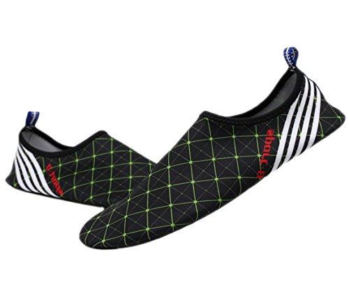 Black Unisex Mens Yoga Kids Aqua Shoes Swim Pool Green Slip Wave Socks Womens Water Plaid Exercise Santimon Beach Sports for Unisex On zpxq8wR0g