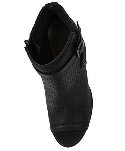 Delicious Ankle Soda Black Back Buckle Toe Women's Bootie Perforated Peep RfPpnBxv