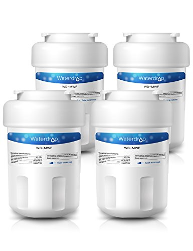 4 Pack Waterdrop MWF Replacement for GE MWF SmartWater, MWFA, MWFP, GWF, GWFA, Kenmore 9991,46-9991, 469991 Refrigerator Water Filter