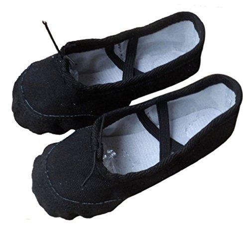 Transer Ladies& Girls Canvas Ballet Dance Shoes- Women Pointe Gymnastics Slippers Black SjW128dw