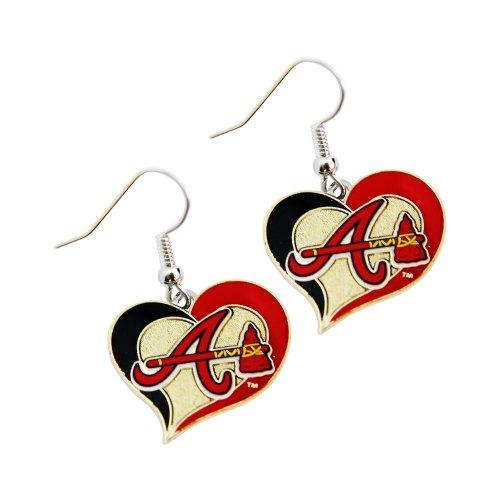 aminco MLB Atlanta Braves Team Logo Swirl Heart Earring Sports Fan Gift ()