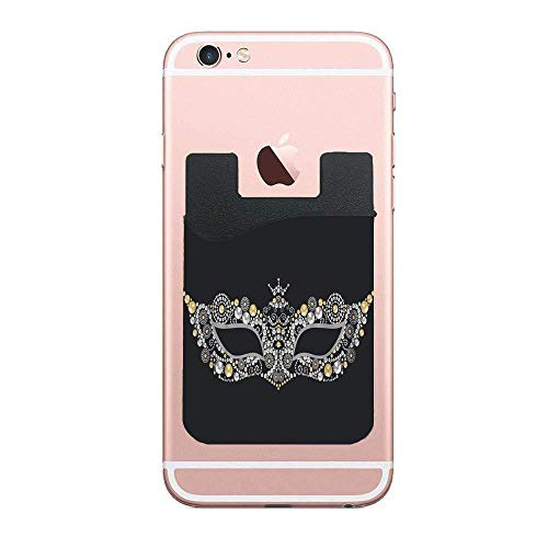 Cellcardphone Beautiful Vintage Venetian Carnival Mask Silver and Gold Precious Premium Cell Phone Card Holder Sticker Firmly Mobile Cell Phones 2 PCS