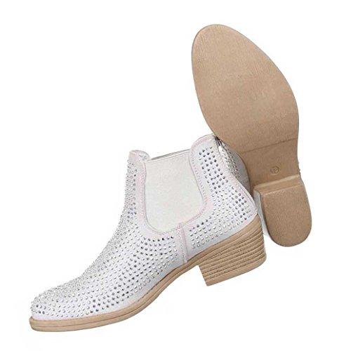 Damen Stiefeletten Schuhe Strass Besetzte Chelsea Boots Schwarz Beige