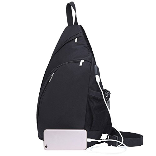 TECHQ Sling Bag - Small Laptop Travel Backpack External USB Charging Port (Black)