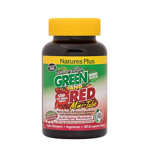 Natures Plus Source of Life Green and Red – 180 Vegetarian Mini Tablets – High Potency Whole Food Multivitamin & Mineral Supplement, Antioxidant – Gluten Free – 30 Servings