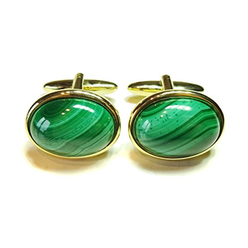 Green Malachite Gold Plated Semi-precious Gemstone Cufflinks