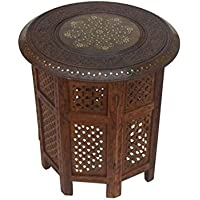 Carved Wooden Table, Octagonal Stand - Nautical Decor