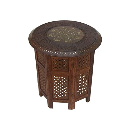 Nautical Decor Carved Wooden Table, Octagonal Stand ()
