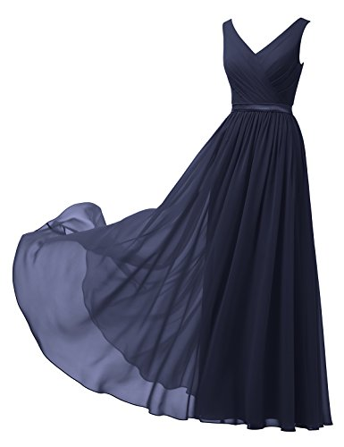 Alicepub V-Neck Chiffon Bridesmaid Dress Long Party Prom Evening Dress Sleeveless, Dark Navy, US16