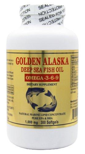 Or l'Alaska profond de la mer oméga-3-6-9 Fish Oil 1000 mg 300 gélules