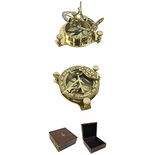 Armor Venue Folding Brass Sun Dial Compass w/Wooden Case Outdoor Camping Gear (Sundial Charm)