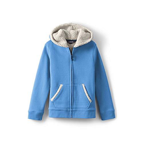 Lands' End Girls Sherpa Lined Hoodie, S, Azure (Lands End Kids Sweater)
