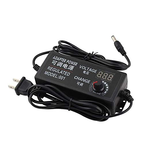 Yetaida Universal Adjustable AC/DC Switching Power Adapter,100-240V to 3-12V 5A 50-60hz Power Supply Adapter Converter with LED Voltage Display US Plug (3V-12V 5A)