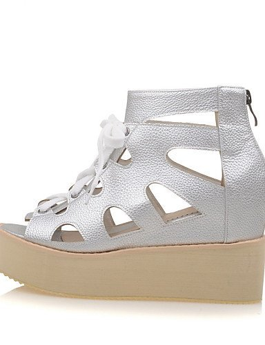 Shoes White Platform Creepers Women's Dress Sandals Boots Peep Silver Toe Silver Platform ShangYi Outdoor Black 54qx7x