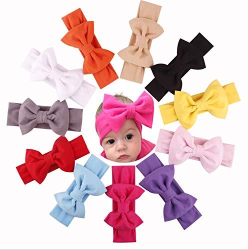 ZHW Baby Rabbit Ears Headband Girls Elastic Soft Turban Bow Cotton Cloth Hair Band (7 Color)