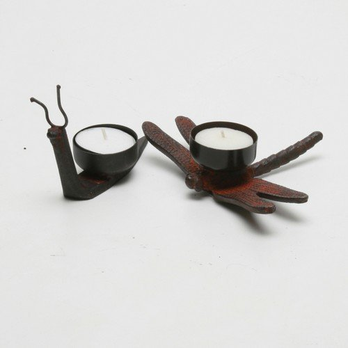 TAG Snail & Dragonfly Tealight Holders, Set of - Tealight Dragonfly Candle