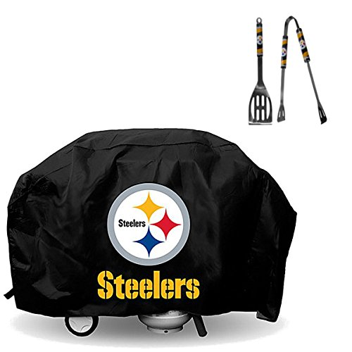 Official National Football Fan Shop Authentic NFL Large 68 inch Heavy Duty Vinyl Grill Cover and 2 Pc 12 Inch BBQ Utensil Bundled Set (Pittsburgh Steelers)
