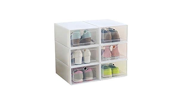 1//2//6PCS Foldable Clear Plastic Shoe Box Storage Stackable Case Organizer Home