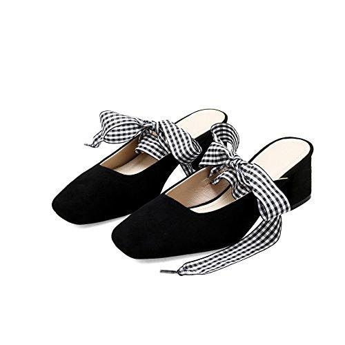 Baotou salvaje Transpirable 39 correas zapatillas Heel Moda audaces de negro 6cm con Sandalias alto Shoes AJUNR cuadrado 35 elegante vTEpIwvq