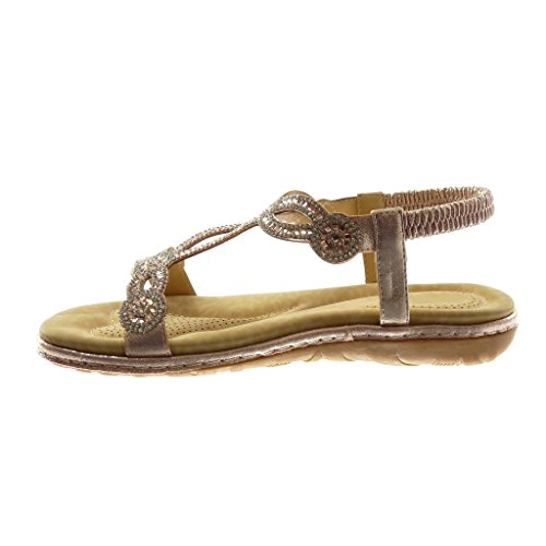 Angkorly Damen Schuhe Sandalen - Slip-on - T-Spange - Knöchelriemen - Strass - Fantasy - Fertig Steppnähte Flache Ferse 3 cm Champagner
