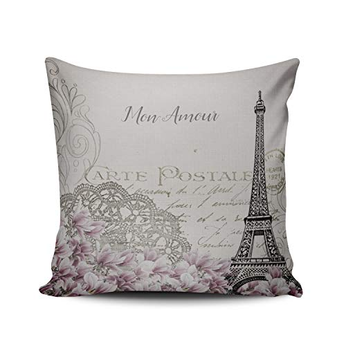 Fanaing Mon Amour Carte Postale Pillowcase Home Sofa Decorative 20X20 Inch Square Throw Pillow Case Decor Cushion Covers Double Sided Printed (Top Romantic Vacation Spots In The Us)