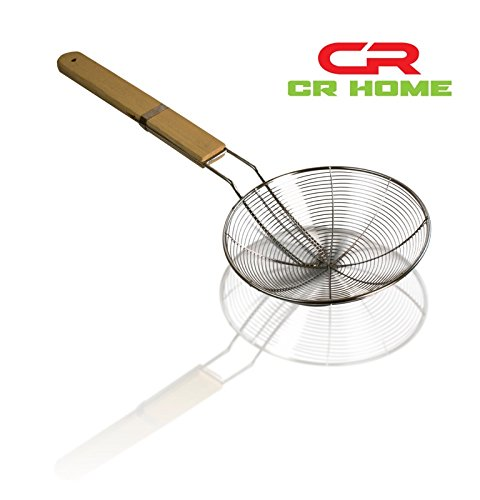 STAINLESS STEEL STRAINER DEEP FRY SKIMMER KITCHEN TOOL - INSTANTLY DRAIN WATER OR OIL & STAY SAFE FROM OIL POPS - STURDY ASIAN SPIDER - BAMBOO & WIRE DESIGN ACTS AS A LADLE OR STIRRER 20'