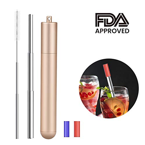 Stainless Steel Straw, Fodsports Telescopic Metal Straw Reusable Drink Straw with Metal Capsule Shell, Silicone Tips and Cleaning Brush (Gold)