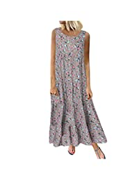 XIANAER Women's Casual Loose Plus Size Cotton and Linen Sling Round Neck Ethnic Style Printed Sleeveless Daily Maxi Dress