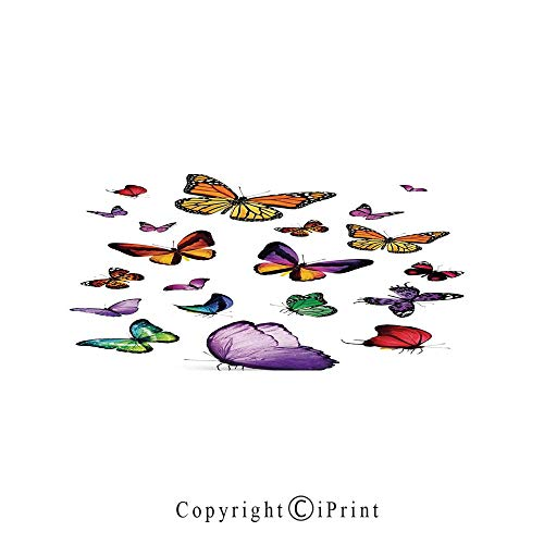 (Butterflies Decorations Large Premium Quick Dry Cotton & Microfiber Bath Towel,Collection of Different Color and Size Flying Butterflies Independent Spirit Animal,for Travel Sports & Beach,W70.8
